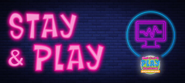 Neon-Stay-and-PLAY recreation programs in neon glow with Play Garland icon and virtual computer icon